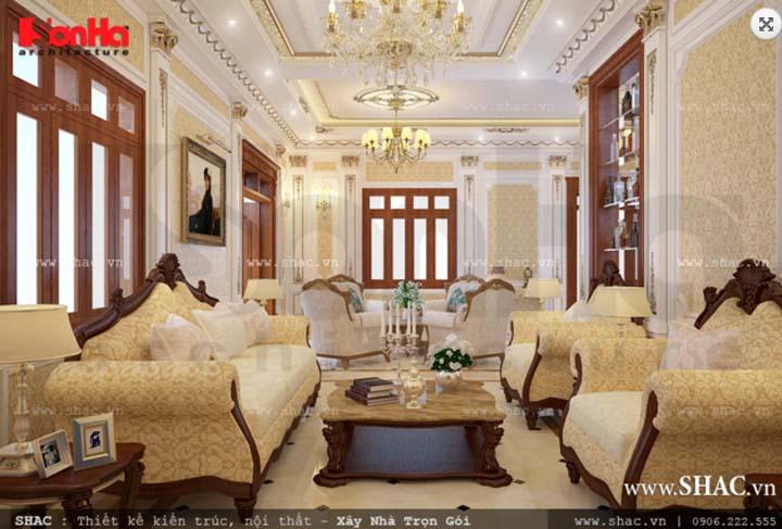 Nội thất phòng khách Pháp đẹp diễm lệ