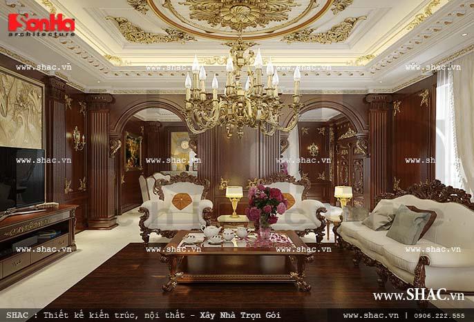 Nội thất phòng khách cổ điển Pháp cao cấp