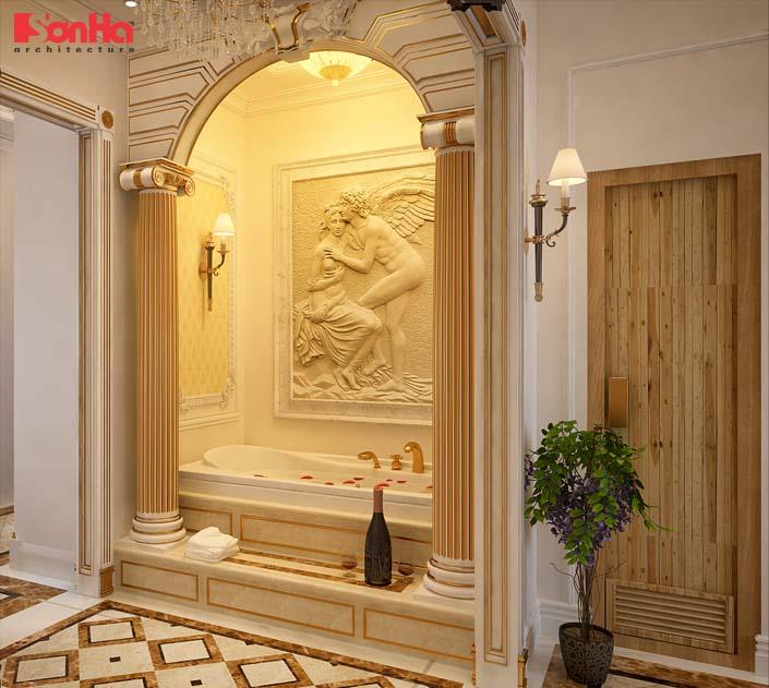Mẫu thiết kế nội thất phòng tắm cổ điển Pháp đẹp ấn tượng