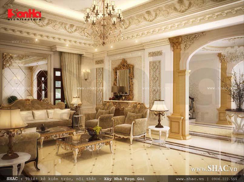 Phòng khách nội thất Pháp ấn tượng