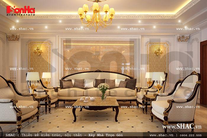 Phòng khách nội thất Pháp cho biệt thự cổ điển sang trọng